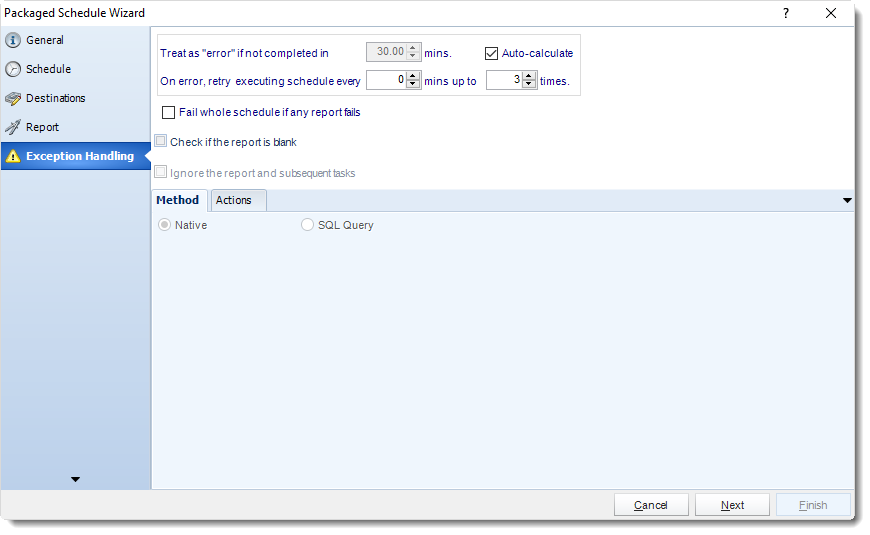 MS Access: Exception Handling in Package Schedule in MARS.