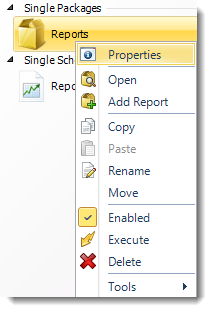 MS Access: Package Report Schedule Context Menu in MARS.