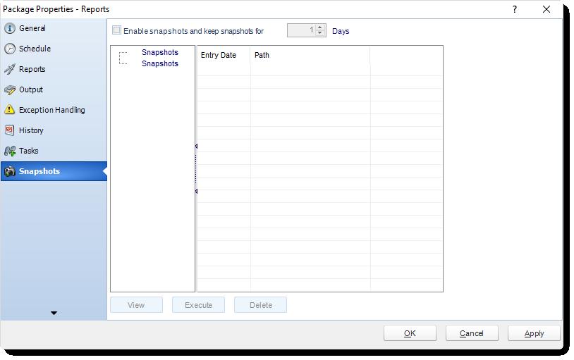MS Access: Package Schedule Report Properties in MARS.