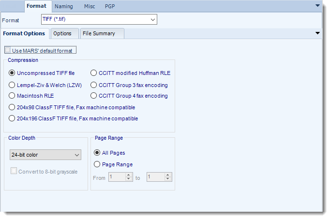 MS Access: TIFF output format options in MARS