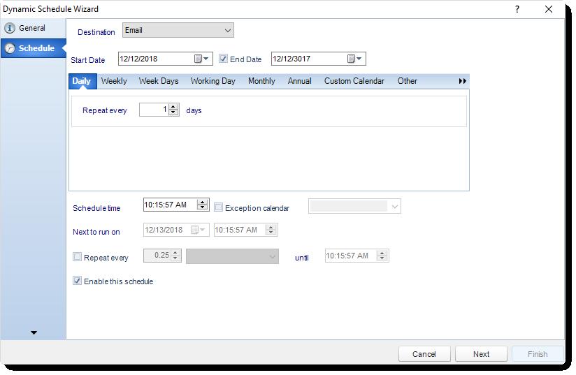 MS Access: Schedule Wizard in Dynamic Schedule in MARS.