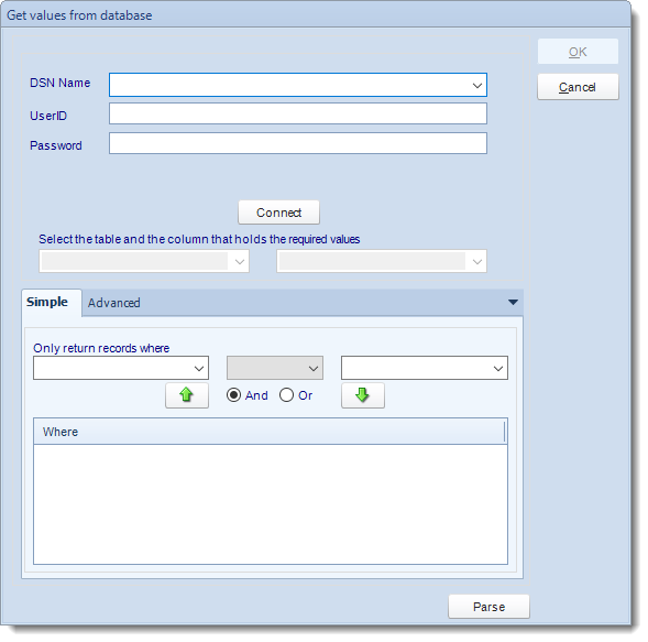 MS Access: Get values from database interface in MARS.