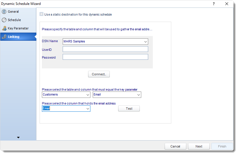 MS Access: Linking Wizard in Dynamic Schedule in MARS.
