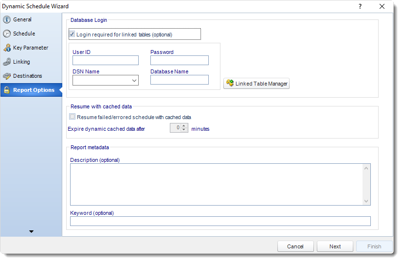 MS Access: Report Options Wizard in Dynamic Schedule in MARS.