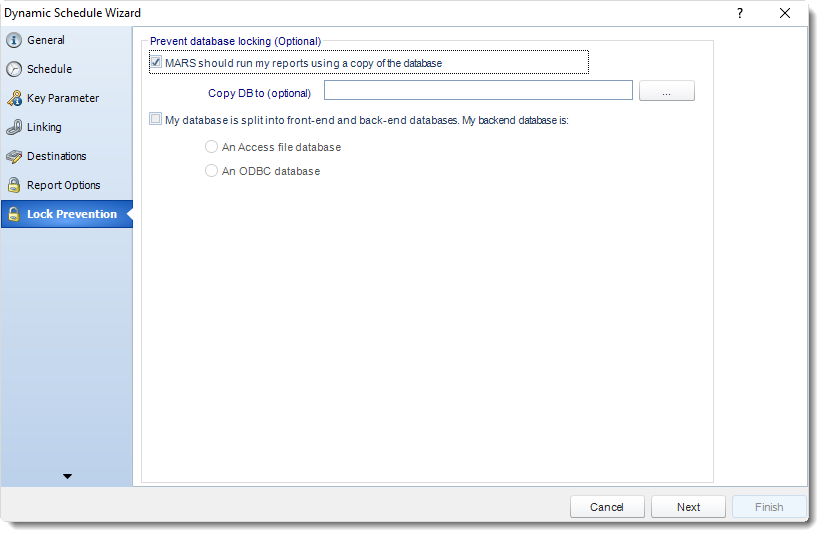 MS Access: Lock Prevention Wizard in Dynamic Schedule in MARS.