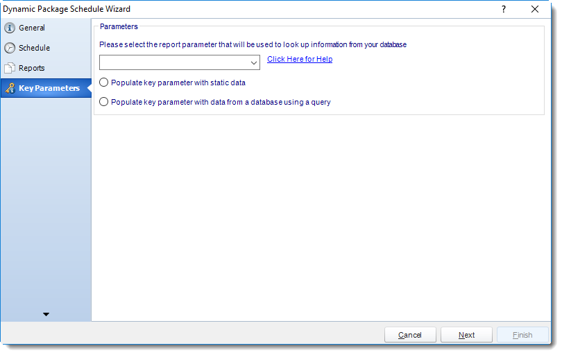 MS Access: Key Parameter Wizard in Dynamic Package in MARS.