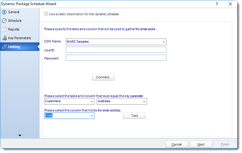 MS Access: Linking Wizard in Dynamic Package in MARS.