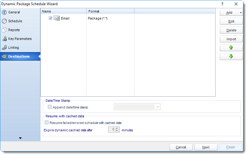 MS Access: Destination Wizard in Dynamic Package in MARS.