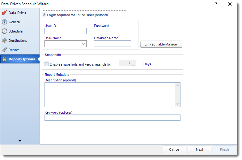 MS Access: Report Options Wizard in Data Driven Schedule in MARS.