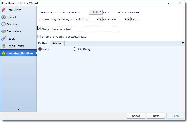 MS Access: Exception Handling Wizard in Data Driven Schedule in MARS.