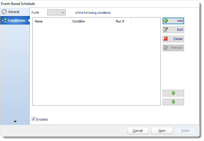 MS Access. Conditions Wizard in Event Based Schedule In MARS