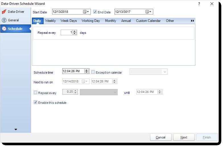 MS Access: Schedule Wizard in Data Driven Schedule in MARS.