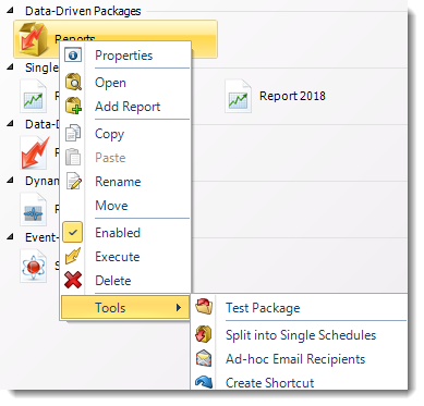 MS Access: Data Driven Package Context Menu in MARS.