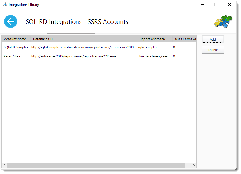 SSRS Reports: SSRS Accounts in Integration Library in SQL-RD.