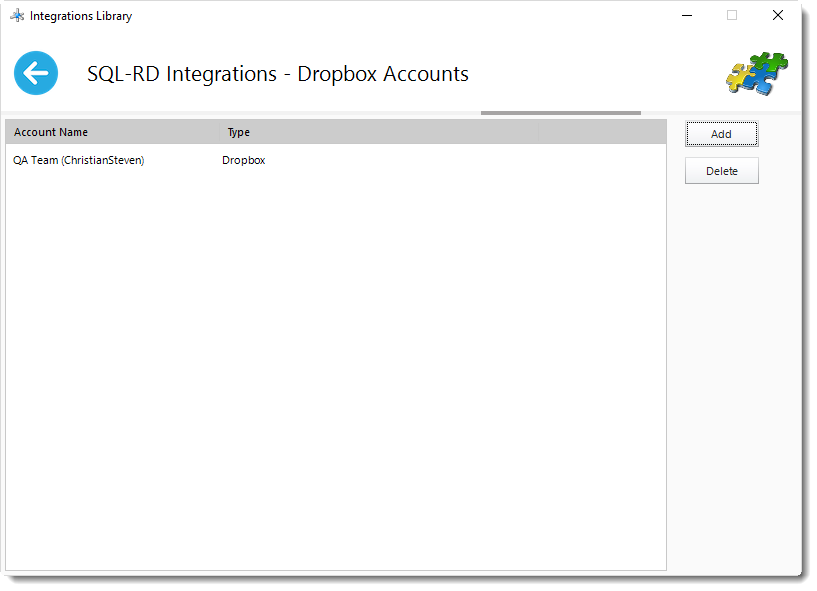 SSRS Reports: Dropbpx Account in Library Integrations in SQL-RD.