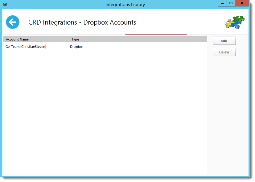 CrystalReports: Dropbox Accounts in Library Integrations in CRD.