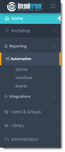 KPIs and Dashboards: Creating Workflows in IntelliFront BI.