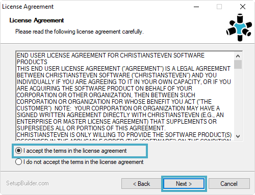 Welcome to the SQL-RD Setup Wizard: License Agreement.
