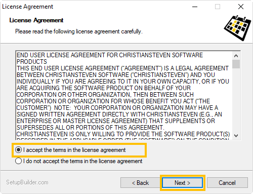 Welcome to the PBRS Setup Wizard: License Agreement