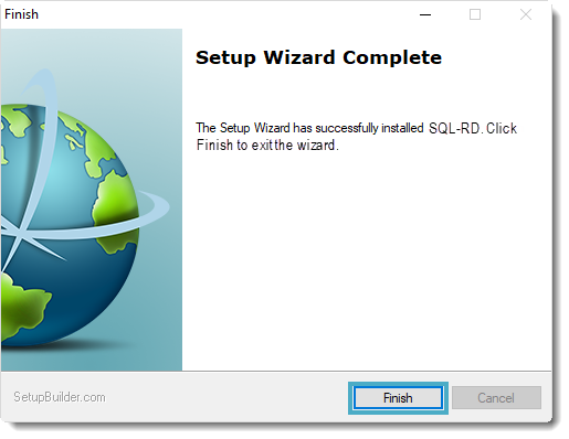 Welcome to the SQL-RD Setup Wizard: Finish