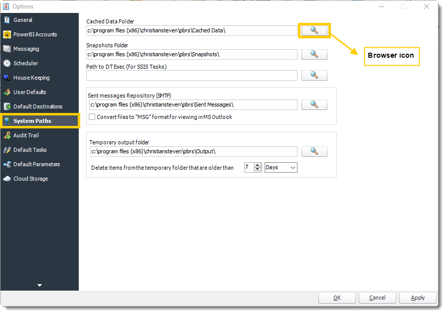 Power BI and SSRS. System Path section in Options in PBRS