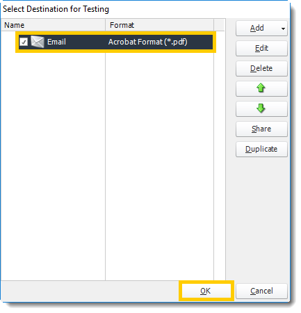 Power BI and SSRS. Select Destination for Testing in PBRS