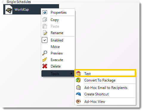 Power BI and SSRS. Schedules Context Menu in PBRS