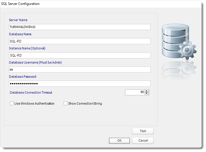 SSRS. SQL Server Configuration in SQL-RD.