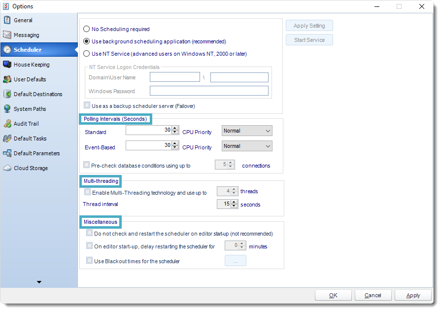 SSRS. Scheduler in Options section in SQL-RD