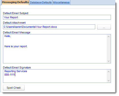 SSRS. User Defaults (Messaging Defaults) in Options section in SQL-RD