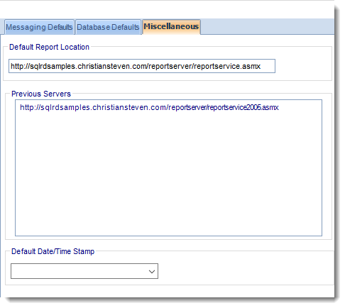 SSRS. User Defaults (Miscellaneous) in Options section in SQL-RD