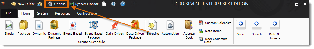 Crystal Reports: CRD Home Menu.