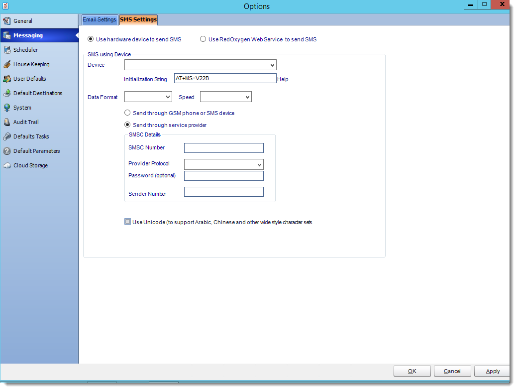 Crystal Reports: SMS Settings section in Options in CRD.