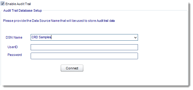 Crystal Reports: Audit Trail in Options in CRD.