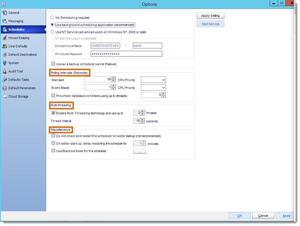 Crystal Reports: Scheduler in Options in CRD.