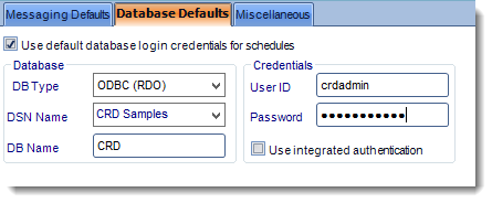 Crystal Reports: User Defaults in Options in CRD.