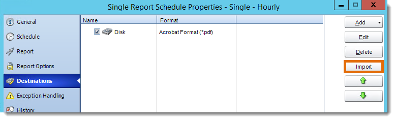Crystal Reports: Destination in Single Report Schedule Properties in CRD.