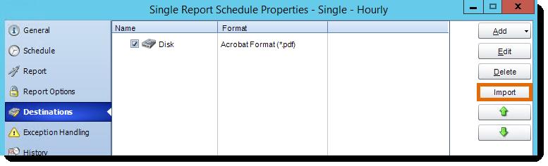 Crystal Reports: Destination in Single Report Schedule Properties in CRD.