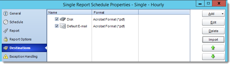 Crystal Report: Destinations in Single Report Schedule Properties in CRD.