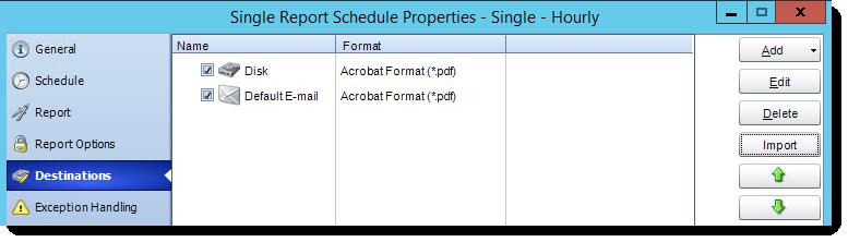 Crystal Report: Destinations in Single Report Schedule Properties in CRD.