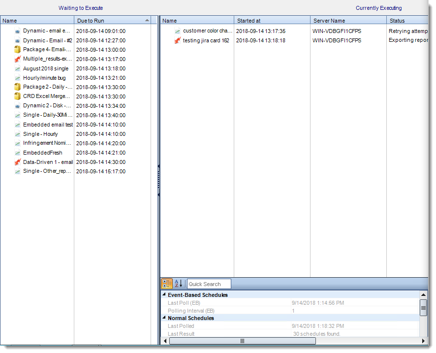 Crystal Reports: Schedule Manager in System Monitor in CRD.