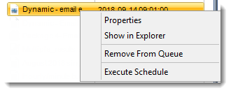 Crystal Reports: Schedule Manager Context Menu in System Monitor in CRD.