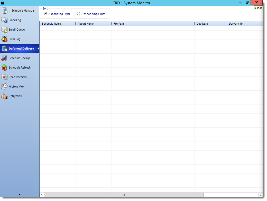 Crystal Reports: Deferred Delivery in System Monitor in CRD.