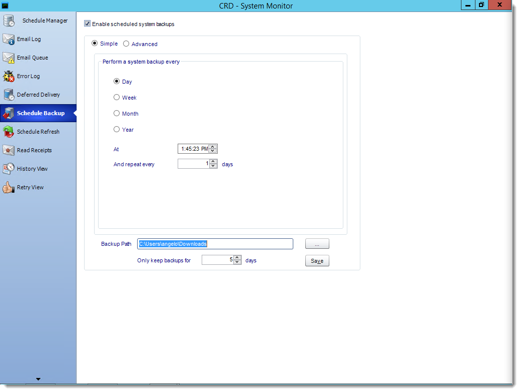 Crystal Reports: Schedule Backup in System Monitor in CRD.