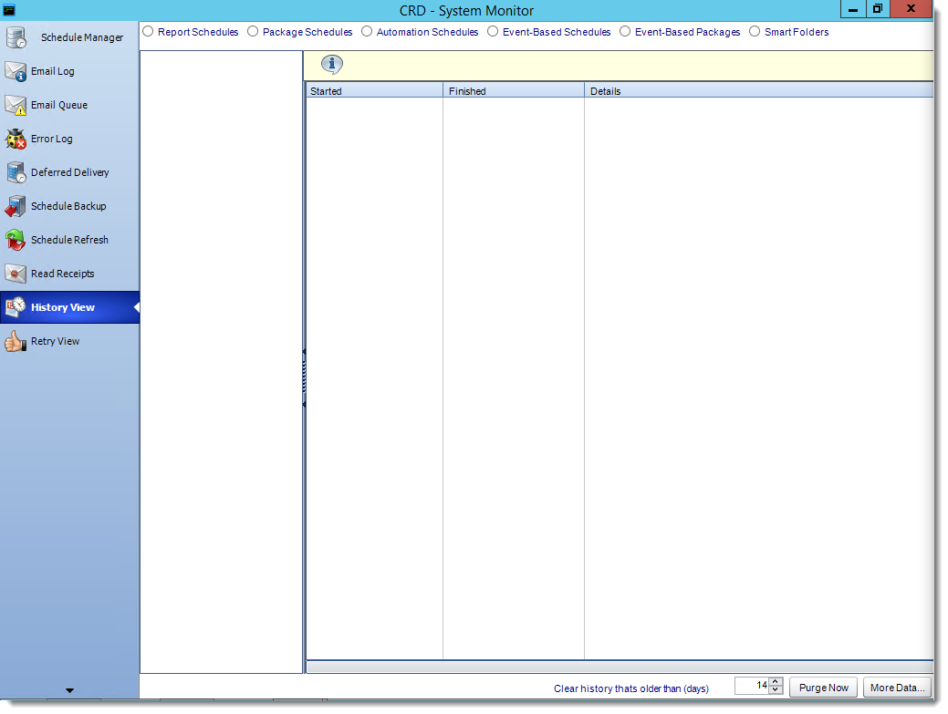 Crystal Reports: History View in System Monitor in CRD.