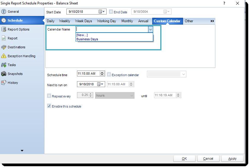 SSRS. Using Custom Calendars in Schedule Wizard in any Report Schedule in SQL-RD.