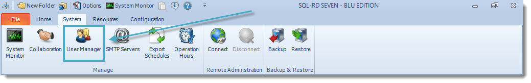 SSRS. SQL-RD System Menu