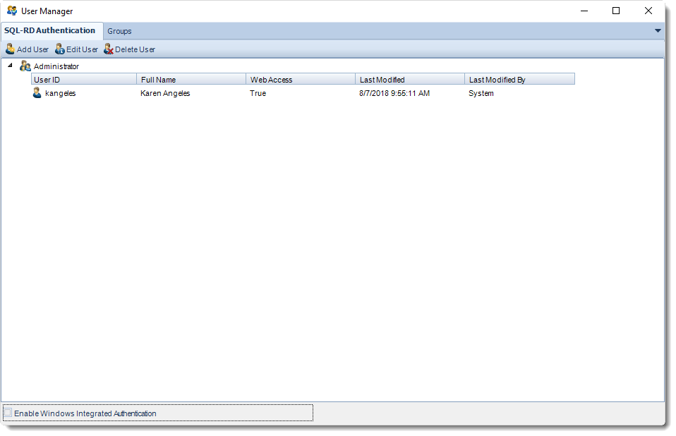 SSRS. SQL-RD Authentication section in User Manager in SQL-RD.