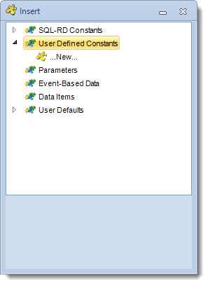 SSRS. Insert Menu: User Defined Constants in SQL-RD