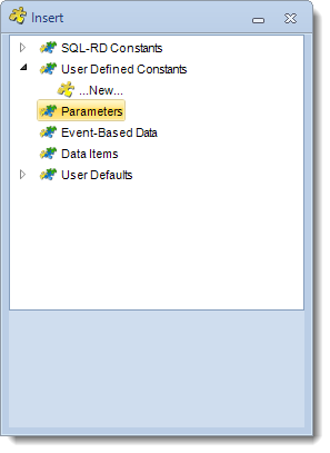 SSRS. Insert Menu: Parameters in SQL-RD